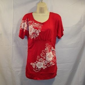 2B Bebe Top Blouse Embroidered Floral Size Large